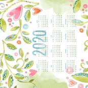Sweet Watercolor Blooms 2020 Tea Towels-Vines