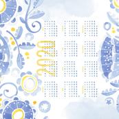 Sweet Watercolor Blooms 2020 Tea Towels _BlueBlooms