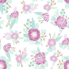 floral purple lilac and mint flowers