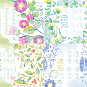 Sweet Watercolor Blooms 2020 Tea Towels group