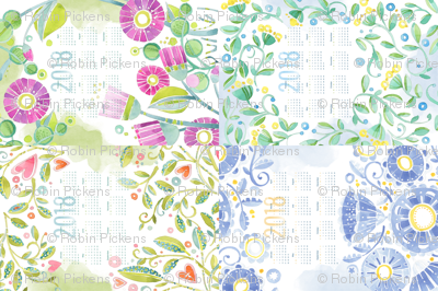 Sweet Watercolor Blooms 2018 Tea Towels group