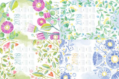 Sweet Watercolor Blooms 2018 Tea Towels group fabric by robinpickens on Spoonflower - custom fabric