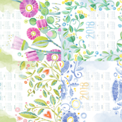 Sweet Watercolor Blooms 2018 Tea Towels group