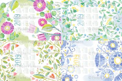 Sweet Watercolor Blooms 2019 Tea Towels group