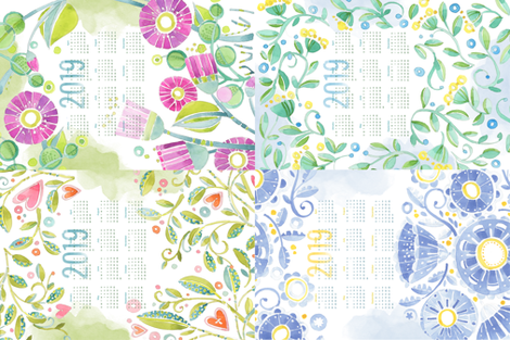 Sweet Watercolor Blooms 2019 Tea Towels group fabric by robinpickens on Spoonflower - custom fabric