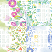 Sweet Watercolor Blooms 2019 Tea Towels group