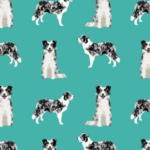 border collie fabric blue merle dog fabric - turquoise