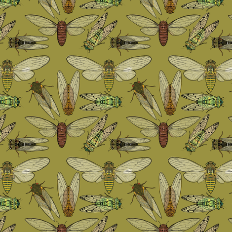 Small Scale Cicadas on Olive fabric by landpenguin on Spoonflower - custom fabric