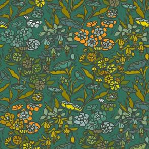 Woodcut Garden {Emerald}