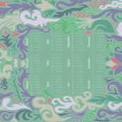2018 Calendar Swirls Soft Green and Purple