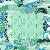2018 Calendar Swirls Blue & Green on Mint