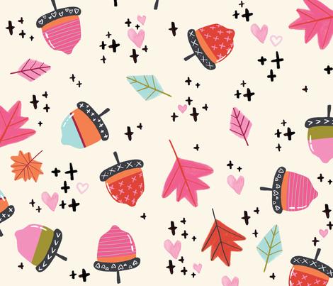 Autumn Acorns LARGE // fall, leaves, orange, pink, season, pumpkin spice, tamara arcilla fabric by tamara_arcilla on Spoonflower - custom fabric