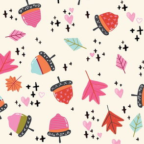 Autumn Acorns LARGE // fall, leaves, orange, pink, season, pumpkin spice, tamara arcilla