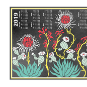 Cactus Chalk Calendar 2019