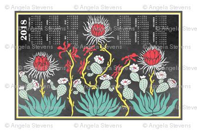 Cactus Chalk Calendar 2018