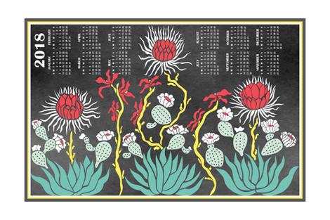 Cactus Chalk Calendar 2018 fabric by mag-o on Spoonflower - custom fabric