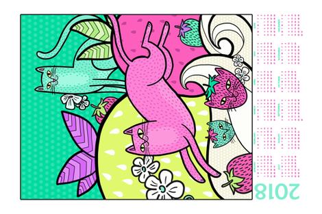 Strawpurry Land 2018 Calendar fabric by pinkowlet on Spoonflower - custom fabric