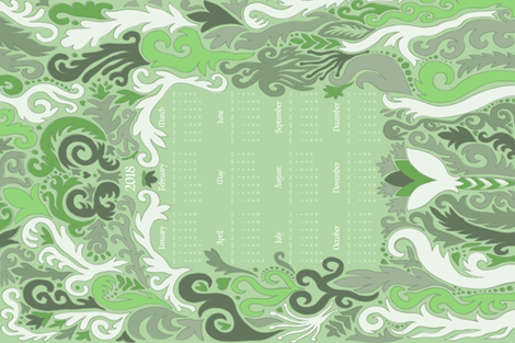 2018 Calendar Swirls Green & White fabric by roguerens on Spoonflower - custom fabric