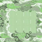 2018 Calendar Swirls Green & White