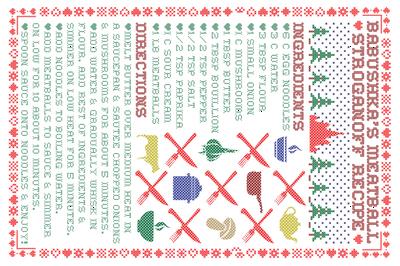 Tea Towel: Babushka's Meatball Stroganoff Recipe in Winter Cross Stitch Embroidery Sampler