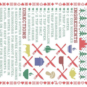 Tea Towel: Babushka's Meatball Stroganoff Recipe in Winter Cross Stitch Embroidery Sampler