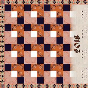 Floral check tiles tea towel calendar 2018