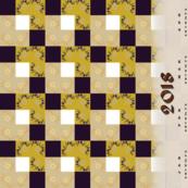 Mustard floral check tiles tea towel calendar 2018