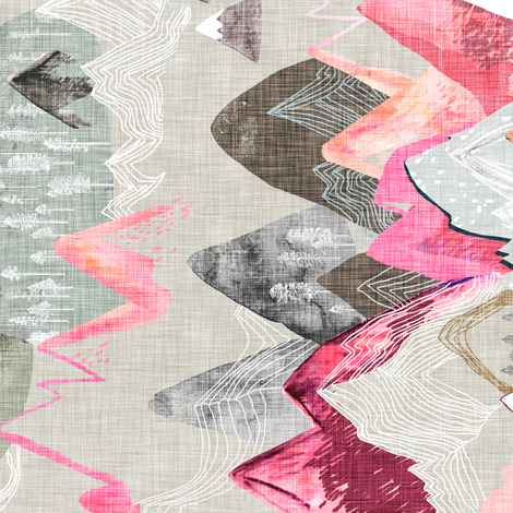 Call of the Mountains (pink) railroad fabric by nouveau_bohemian on Spoonflower - custom fabric