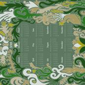 2018 Calendar Swirls Green