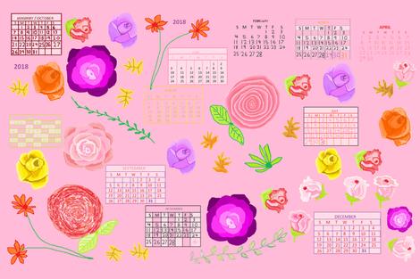 floral_calandar_tea_towel_2018 fabric by art_by_rita on Spoonflower - custom fabric