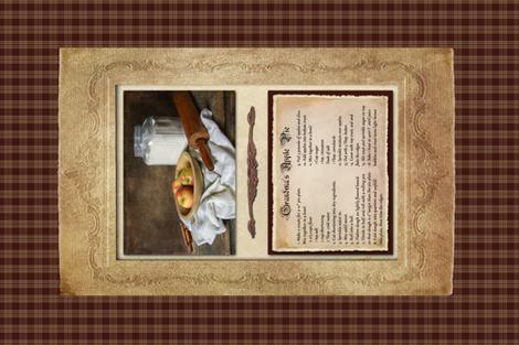 Apple Pie Recipe fabric by linda_baysinger_peck on Spoonflower - custom fabric
