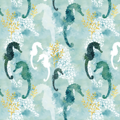 Pointillism Seahorse Dark