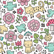 Cats Birds & Flowers Doodle on White