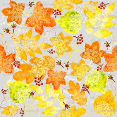 Rustic Fall Leaves (silver)