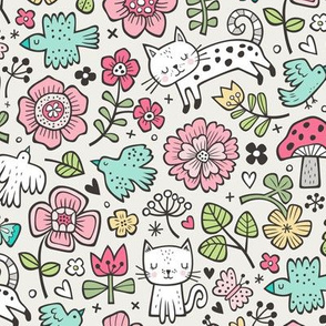 Cats Birds & Flowers Spring Doodle on Cloud Grey