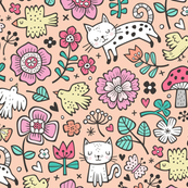 Cats Birds & Flowers Doodle on Peach
