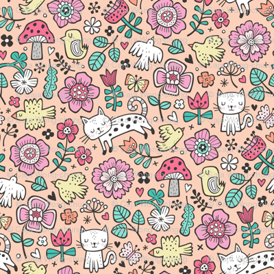 Cats Birds & Flowers Spring Doodle on Peach