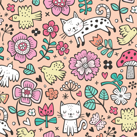 Cats Birds & Flowers Spring Doodle on Peach fabric by caja_design on Spoonflower - custom fabric