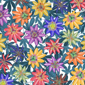 Pattern #79 - Passion Flowers (on blue leaves) L