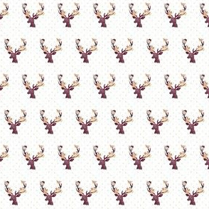 "1"" Autumn Wine Floral Deer // Gold Dots"