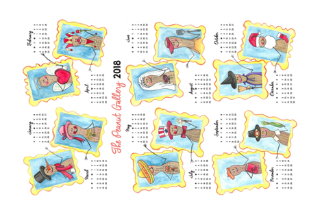 The Peanut Gallery 2018 Calendar fabric by smmackkkk on Spoonflower - custom fabric
