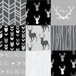 Patchwork Deer - Monochrome