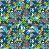 Geometric Shapes and Triangles Blue Tiny Small