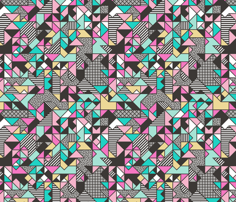 Geometric Shapes and Triangles Pink Yellow Mint Green fabric by caja_design on Spoonflower - custom fabric