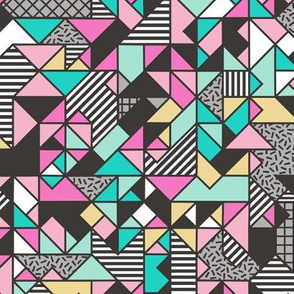 Geometric Shapes and Triangles Pink Yellow Mint Green