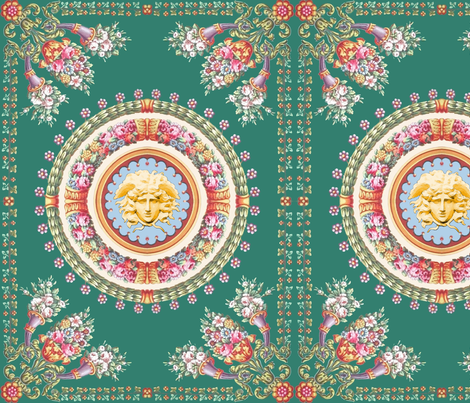 6 medusa acanthus leaves leaf  baroque rococo flowers floral wreaths filigree scrolls swags Versace inspired bouquet vases victorian Greek Greece Mythology monsters gorgons colorful frames borders fabric by raveneve on Spoonflower - custom fabric