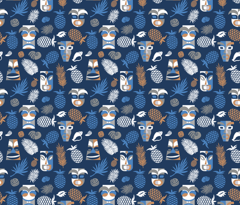 tiki masks blue fabric by colorofmagic on Spoonflower - custom fabric