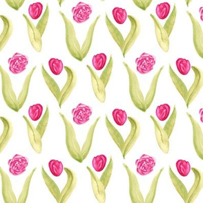 Pink Tulip Green Leaves || Floral Botanical Watercolor Flower Spring Garden _ Miss Chiff Designs