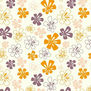 Fancy Flowers in Orange and Purple