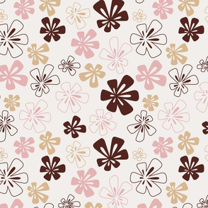 Fancy Flowers in Wine, Pink and Light Brown